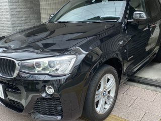 Front left corner of the 2017 BMW X3 for sale in Tokyo